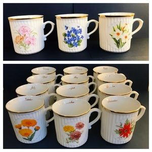 Coffee Mugs ~ Flower-of-the-Month